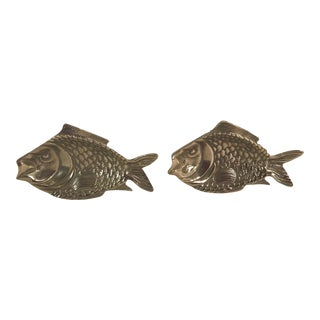 Vintage Brass Fish Dishes - A Pair For Sale