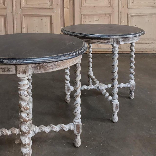 Pair Antique Barley Twist Painted End Tables For Sale - Image 10 of 13