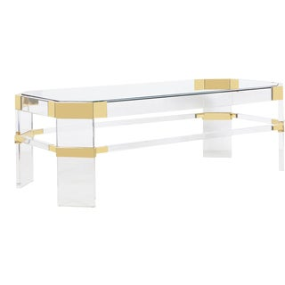 "Vintage Brass and Lucite ""Metric Line"" Coffee Table by Charles Hollis Jones For Sale"