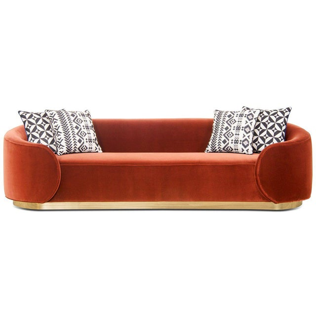 Introducing the Eden Rock sofa in velvet. Curvy wrap-around arms give a unique look to this bold sofa. The solid natural...