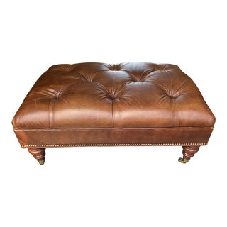 1990s Vintage Handsome Embossed Leather Tufted Ottoman For Sale