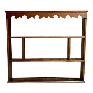 Antique English Carved Oak Pine Plate Platter Wall Rack For Sale