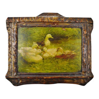 "A. Koester Antique ""Ducks on Pond"" Chromolithograph For Sale"