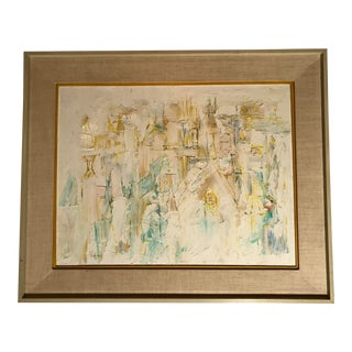 1980s Abstract Expressionist Gesso Painting by Rollin Pickford, Framed For Sale
