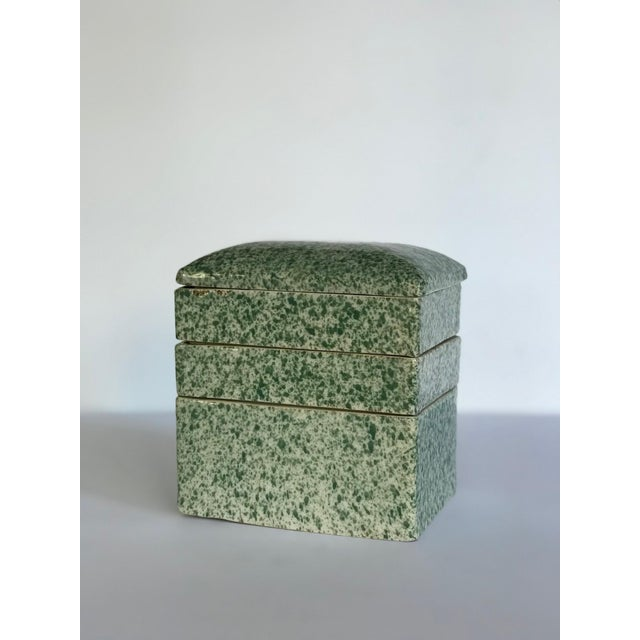 Green Antique Stacking Green Speckled Porcelain Container For Sale - Image 8 of 8