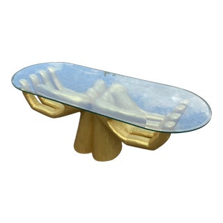 Guayasamin-Style Gold Open Hands Coffee Table For Sale