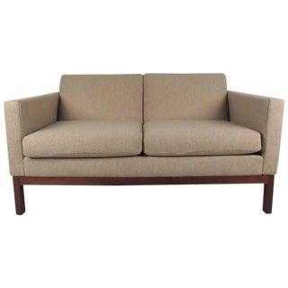 Vintage Modern American Walnut Love Seat by Gunlocke For Sale