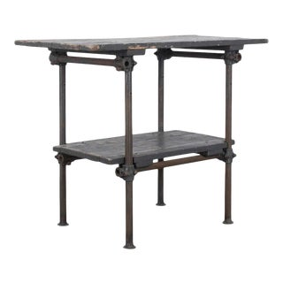 1960s French Metal Worktable With Wooden Top For Sale