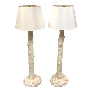 Contemporary Faux Boise Style White Ceramic Floor Lamps - a Pair