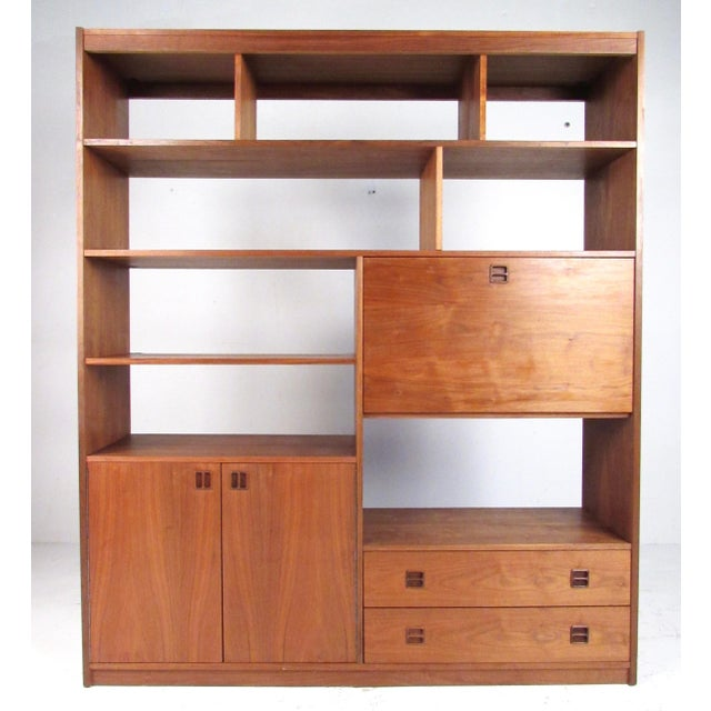 Mid-Century Walnut Bookcase or Wall Unit For Sale - Image 13 of 13