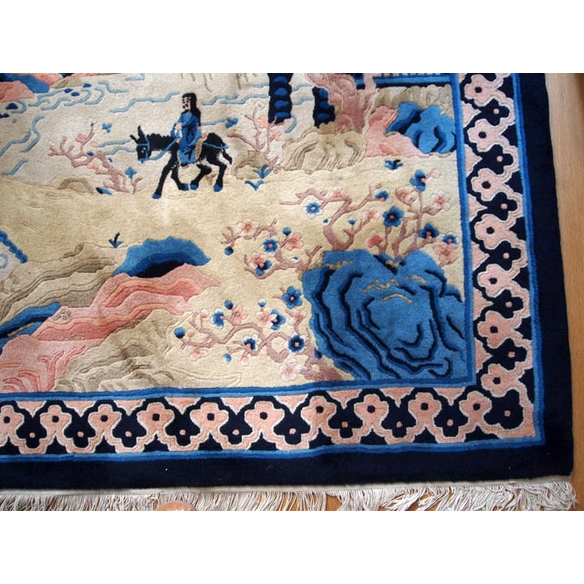 1970s Hand Made Vintage Art Deco Chinese Rug - 4' X 6' For Sale - Image 7 of 9