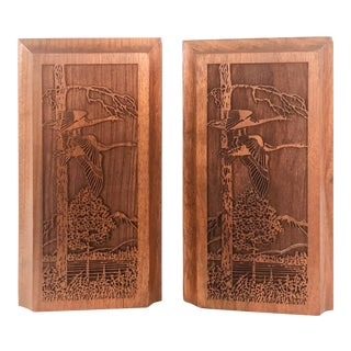 1970s Walnut Wood Pheasant Bookends, - a Pair For Sale