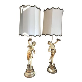 L & F Moreau Signed French Figural Table Lamps With Original Shades - a Pair