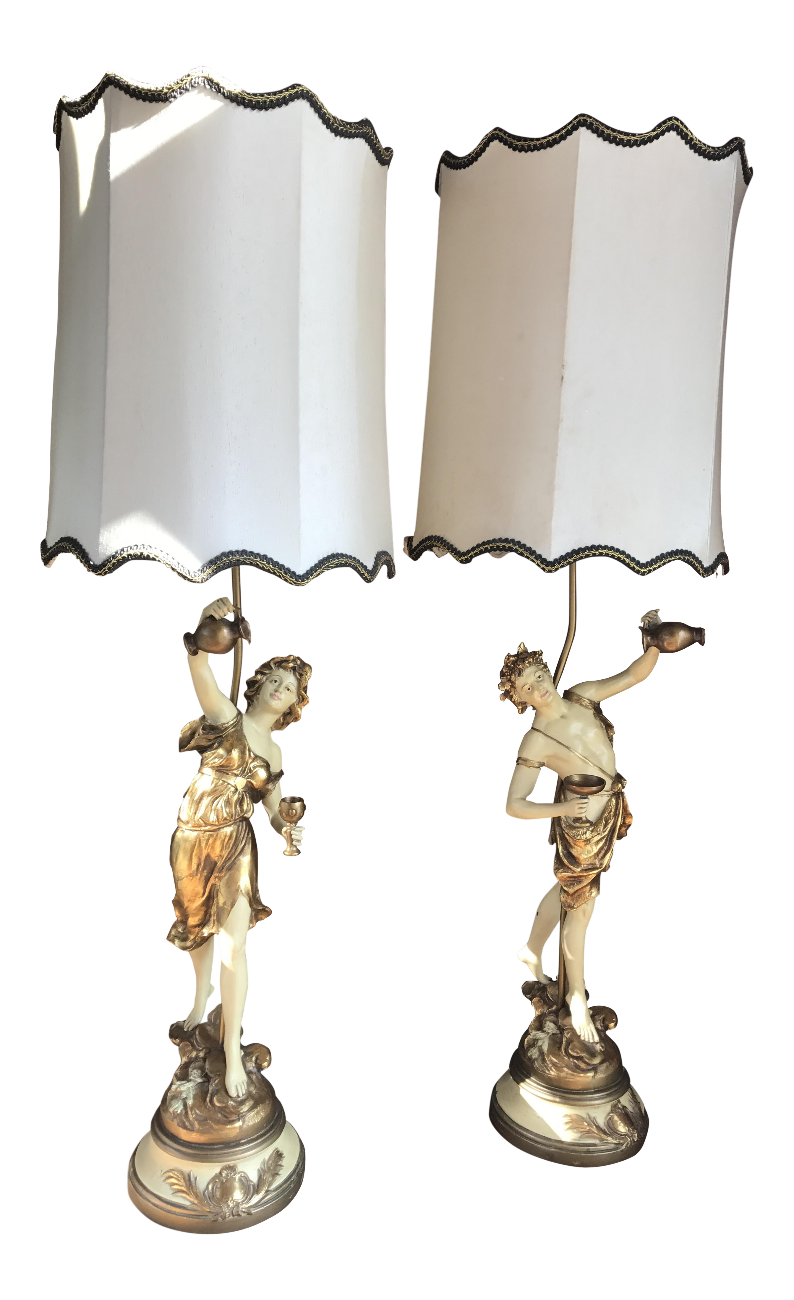 L U0026 F Moreau Signed French Figural Table Lamps With Original Shades   A  Pair