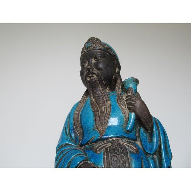 C1950s Rare Italian Ugo. Zaccagnini Terra Cotta Crackle Glaze Persian Blue Asian Figure For Sale - Image 9 of 13