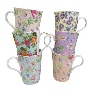 Mismatched Chintz Bone China Mugs - Set of 6