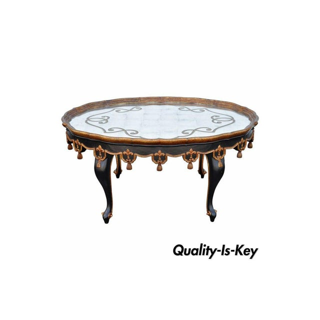 Louis XVI Black & Gold Tassel and Églomisé Mirror Top Coffee Table For Sale - Image 11 of 11