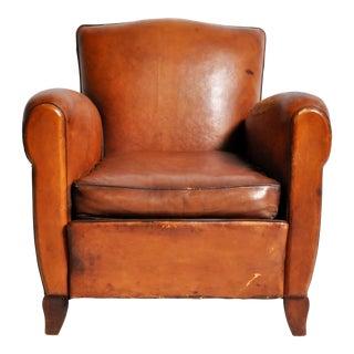 French Art Deco Leather Club Chair With Piping and Original Patina For Sale