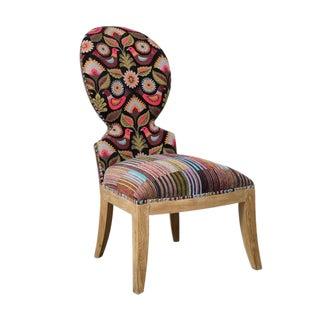 Cruzita Bird Motif Striped Slipper Chair