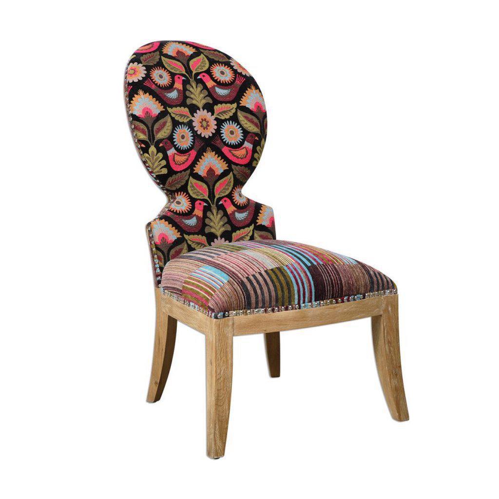 Cruzita Bird Motif Striped Slipper Chair   Image 1 Of 4