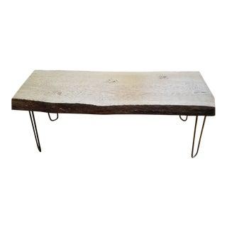 Modern Reclaimed Rustic Live Edge White Oak Bench For Sale