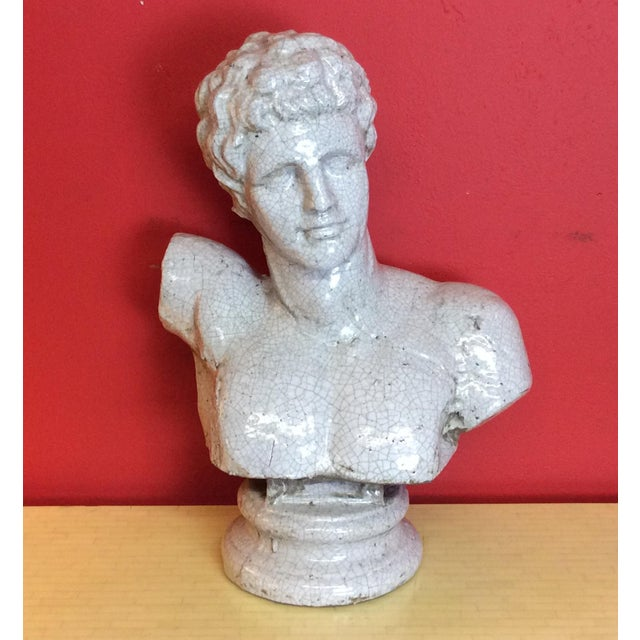 1960s Vintage Venetian Roman Emperor Glazed Terra Cotta Bust For Sale - Image 4 of 8