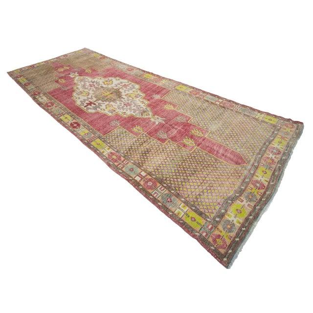 1960s Vintage Turkish Konya Wool Rug- 5′ × 13′7″ For Sale - Image 4 of 7