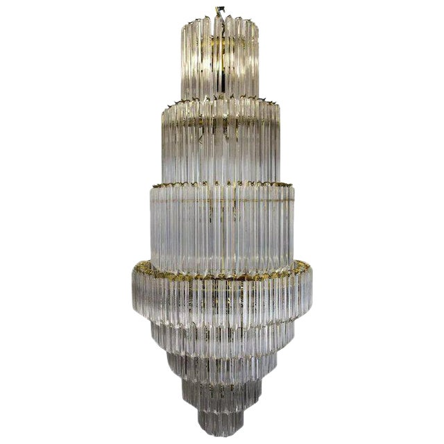 1960's Lucite Acrylic Cascading Chandelier from the University of Northern Colorado's Grand Ballroom For Sale