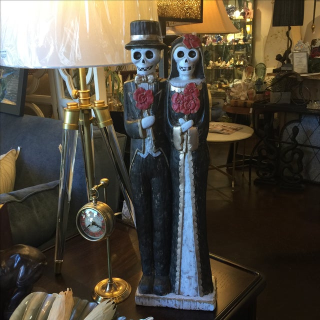 Black Day of the Dead Bride & Groom Figurine For Sale - Image 8 of 8