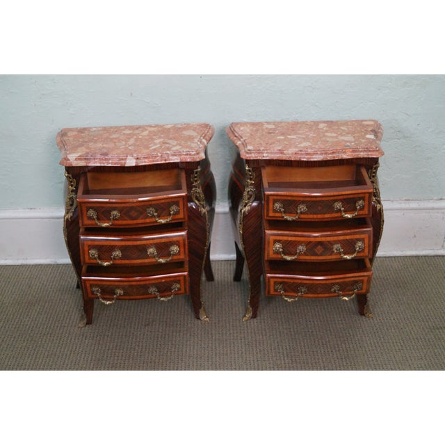 French Louis XV Marble Top Bombe Chests - 2 - Image 2 of 10