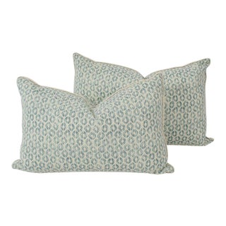 Seafoam Linen Ogee Blocked Lumbar Pillows, a Pair For Sale