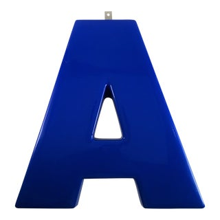 "Vintage Industrial Blue Auto ""A"" Sign For Sale"