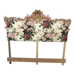 Antique Italian King Upholstered Headboard With Cherubs For Sale