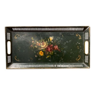 19th Century French Hand Painted Rectangular Gallery Tole Tray With Floral Decor For Sale