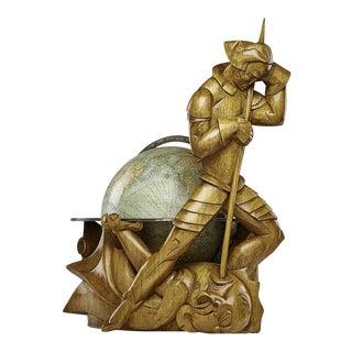 Philips Carved Wood Sculptural Globe by Albert Poels, Belgium, 1939
