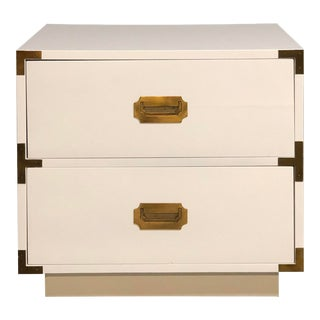 Two Drawer White Campaign Dresser/Night Stand With Brass Hardware For Sale