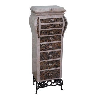 Maitland-Smith Style Tessellated Marble Jewelry Chest For Sale
