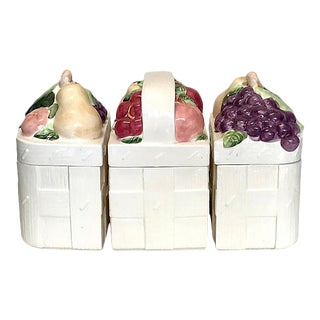 1970s Ceramic Basket Canisters - Set of 3 For Sale