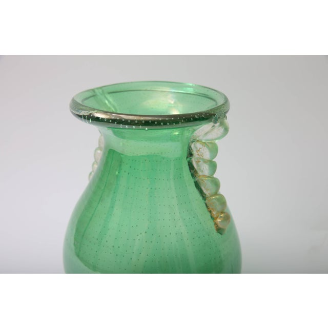 Art Deco 1930s Art Deco Barovier E Toso Controlled Tiny Bubbles Green Gold Murano Glass Vase For Sale - Image 3 of 10