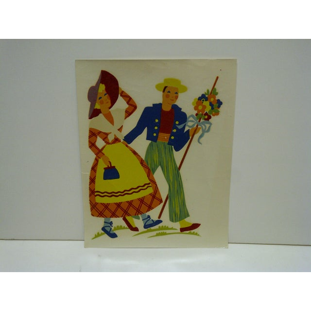 "This is a vintage decal / wall decoration titled ""Spring Stroll"" -- No. 154 -- by The Meyercord Company, Chicago Illinois...."
