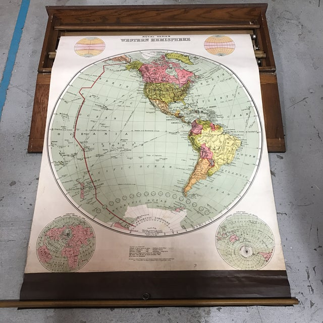 Antique Nystrom Pull Down Maps in Case - Set of 4 For Sale - Image 13 of 13