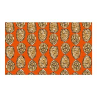 Turtle Shell Burnt Orange Linen Cotton Fabric, 6 Yards For Sale
