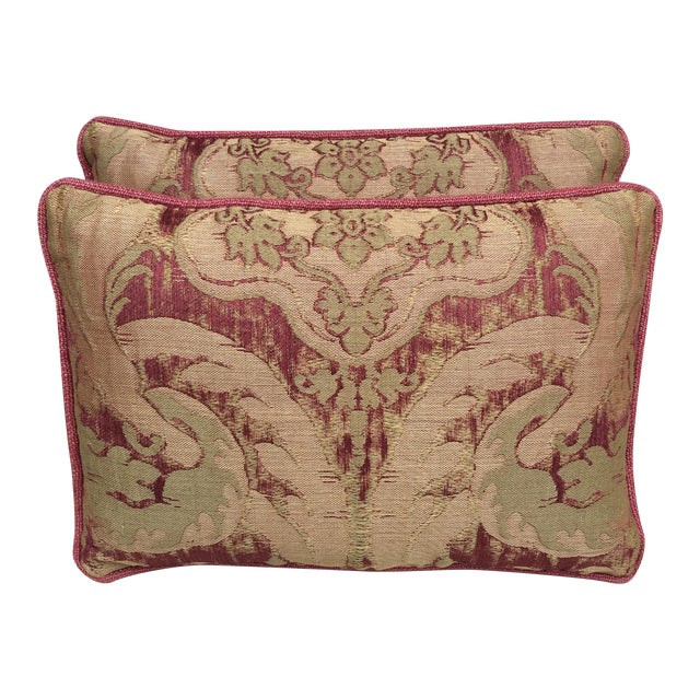 Antique Pink And Red Textile Pillows - Pair - Image 1 of 5