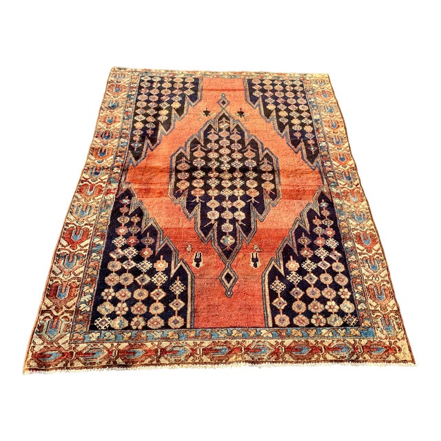 1930s Vintage Persian Mazlaghan Rug - 4′5″ × 5′10″ For Sale