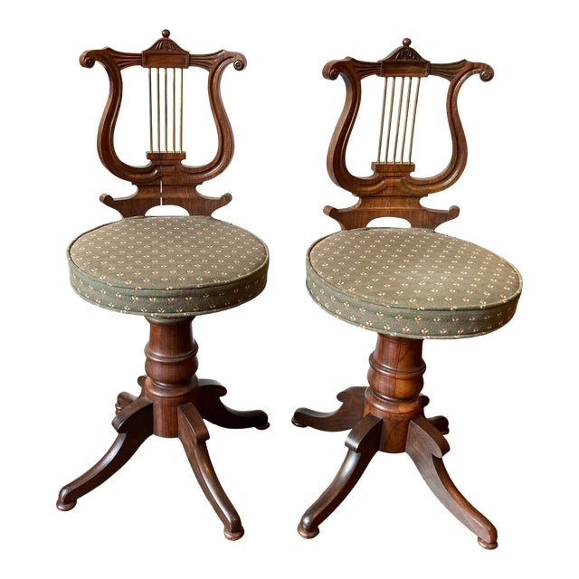 Antique Regency Lyre Back Rosewood Scottish Piano Chairs, Adjustable Height - a Pair For Sale