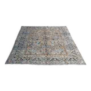 Antique Persian Meshed Large Neutral Floral Rug 8x11 For Sale