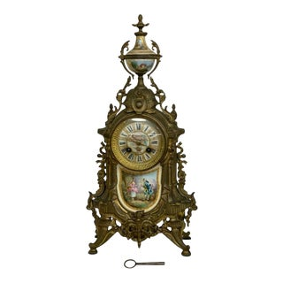 Early 1900s Antique French Bronze and Porcelain Cameo Mantel Clock For Sale
