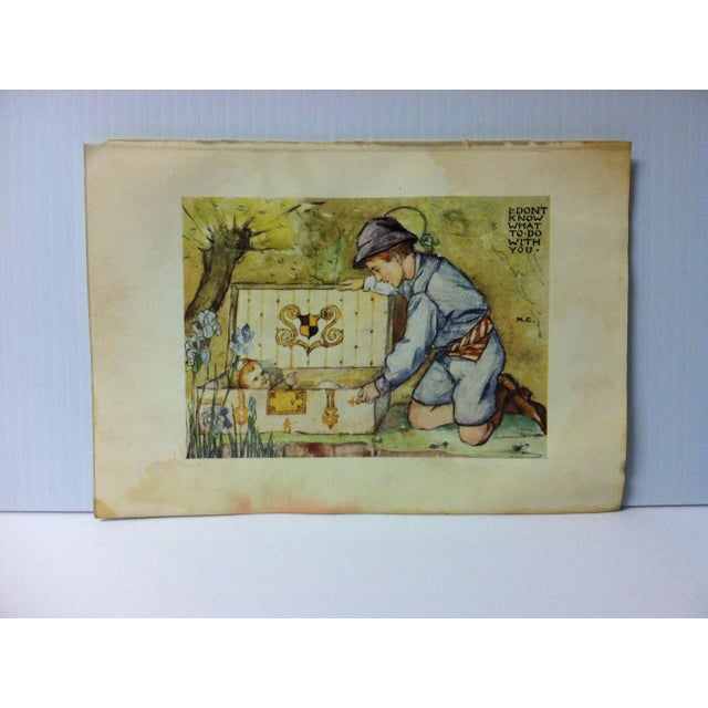 "Antique ""I Don't Know What Do With You"" Enchanted Land Print by G.P. Putnam's Sons Circa 1900 For Sale - Image 4 of 4"