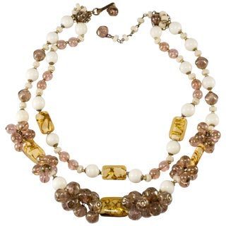 """Miriam Haskell Necklace Amber Art Glass Cluster Bead 17"""" Two Strand Vintage 1960s For Sale"""