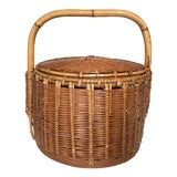 Image of Vintage Woven Rattan and Bamboo Lidded Chinese Wedding Basket For Sale